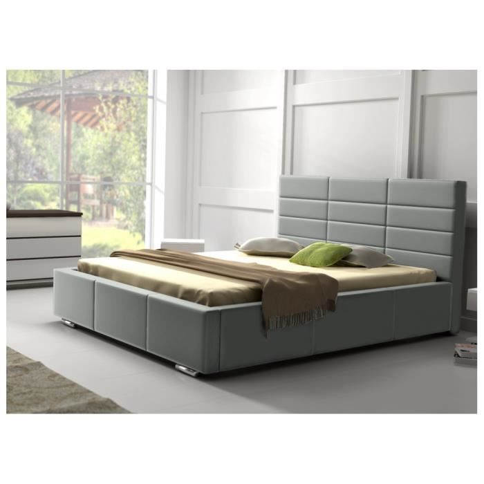 lit design pu tetrio 160x200 cm gris achat vente lit. Black Bedroom Furniture Sets. Home Design Ideas