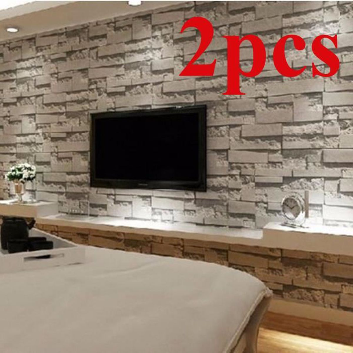 2pcs 3d brique papier peint fond tv mur wallpaper decor for Mur brique salon