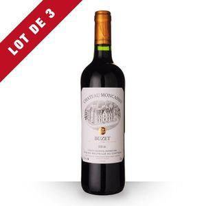 VIN ROUGE Lot de 3 - Château Moncassin Tradition 2016 AOC Bu