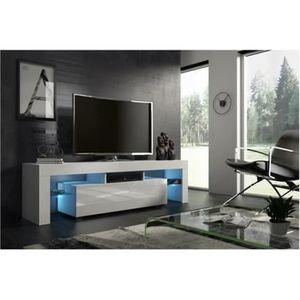 MEUBLE TV Meuble tv 160 cm blanc mat et façade laquée avec l