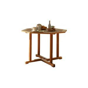 Table de jardin octogonale bois balau massif noyer - Achat ...