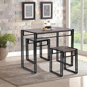 TABLE À MANGER COMPLÈTE Set de 1 Table + 2 Tabourets Ensemble Table à mang