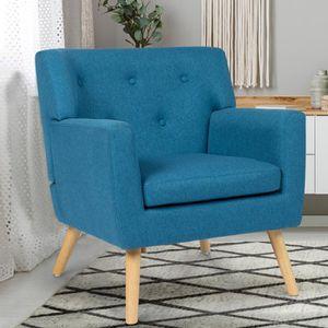 FAUTEUIL Fauteuil scandinave en tissu bleu canard