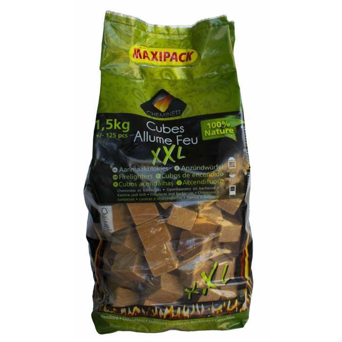 CHEMINETT Allume feu - maxi Cubes XXL en bois FSC et cire 100% végétale - 1,5 kg