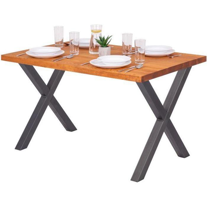 LAMO MANUFAKTUR Table à manger industrielle en bois massif - 120x80x76cm - frêne foncé - pieds acier brut - modèle design