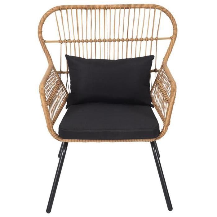 Poufs fauteuils et chaises - Fauteuil d'extérieur - L 81 x l 76 cm - Noir