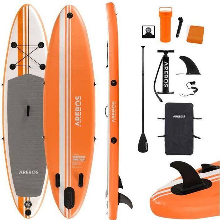 AREBOS SUP Pagayage à la Planche Planche de Surf Gonflable avec Pagaie Orange 300cm