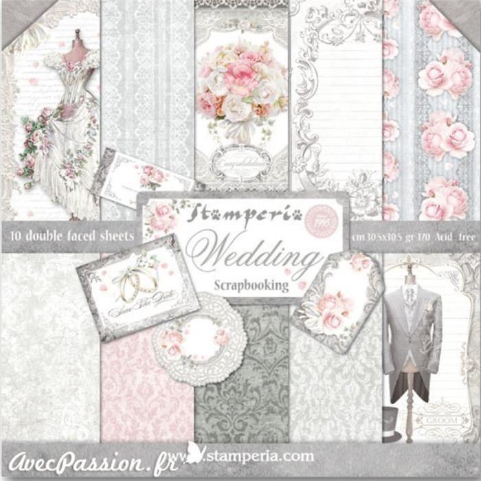 Papier scrapbooking assortiment mariage 10f recto verso 30 x 30 cm Multicolore