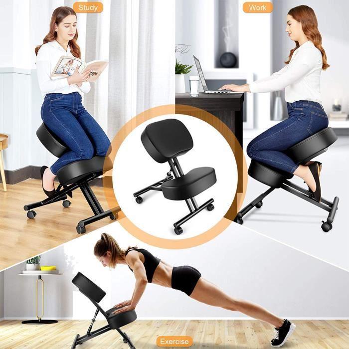 INGMA® Chaise orthopédique suédoise ergonomique en tissu et en métal, Noir