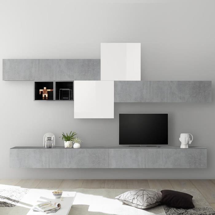 Mur TV design blanc laqué et gris béton PULSANO Gris L 275 x P 300 x H 200 cm