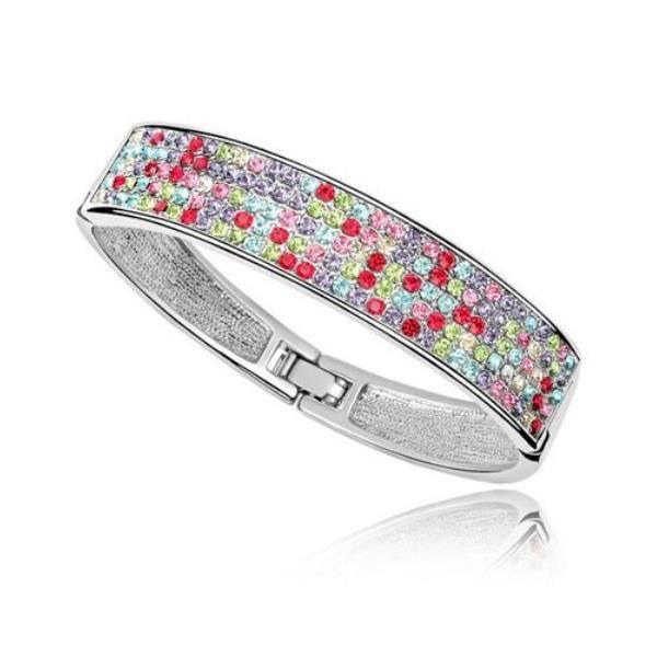 Bracelet Bangle en Cristal de Swarovski Element Multicolor et plaqué or blanc
