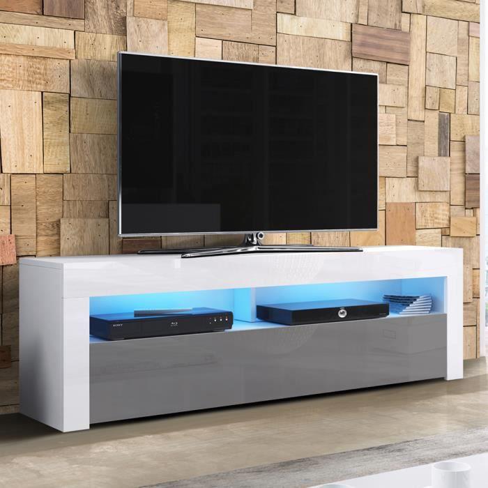 Meuble TV / Meuble de salon - ALAN - 160 cm - blanc mat / gris brillant - avec LED - style moderne