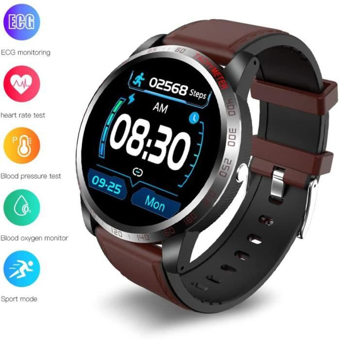 XMYL Sport Smartwatch, ECG + PPG Montre Connectée Bracelet Étanche IP67 Podomètre, Cardiofréquencemètre pour Smartphone Huawei iphon