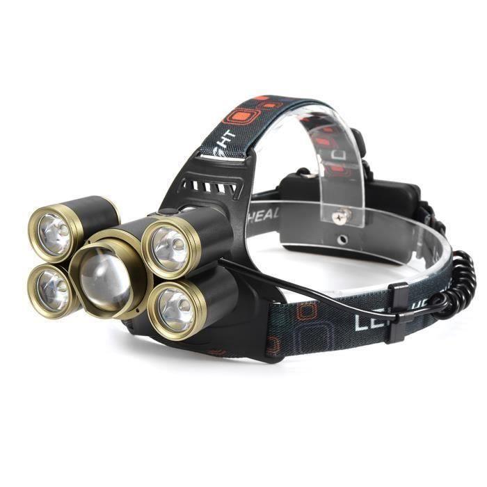 NEüFU 80000LM 5x T6 LED Lampe Frontale Rechargeable avec 18650 Batterie pour Chasse Pêche WYK71788
