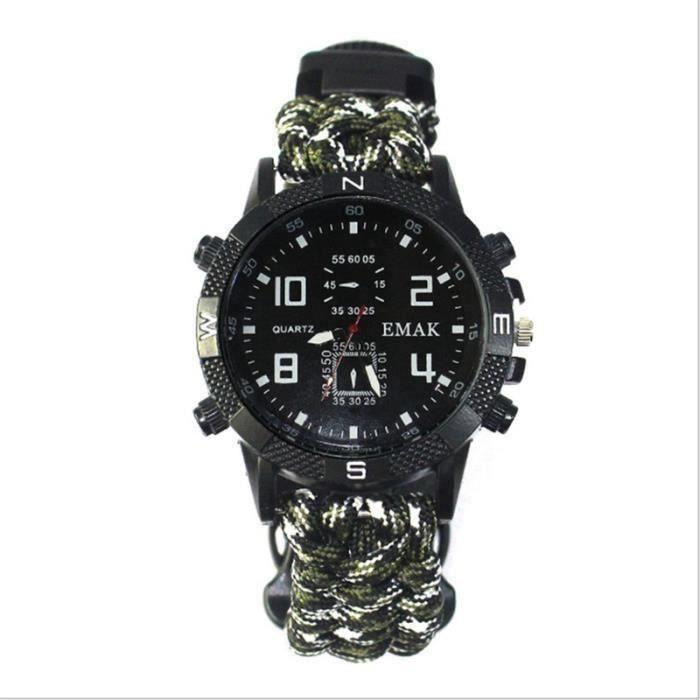11 en 1 Montre de boussole Bracelet de multifonction de survie pour camping Blanc militaire Mon1224-9-39639