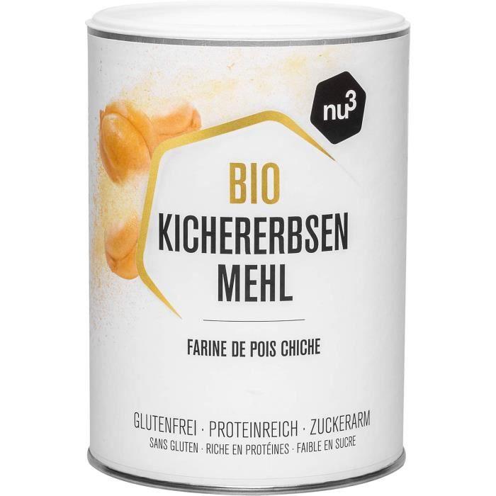 nu3 Farine de Pois Chiche Bio 400g - Farine sans gluten riche en fibres - Moins de glucides et plus de protéines que la farine de bl