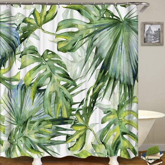 RIDEAU DE DOUCHE EBestar Rideau de Douche Jungle Tropical Paume Plant Rideaux de Douche Originaux Anti Moisissure Vert Tissu ave1051