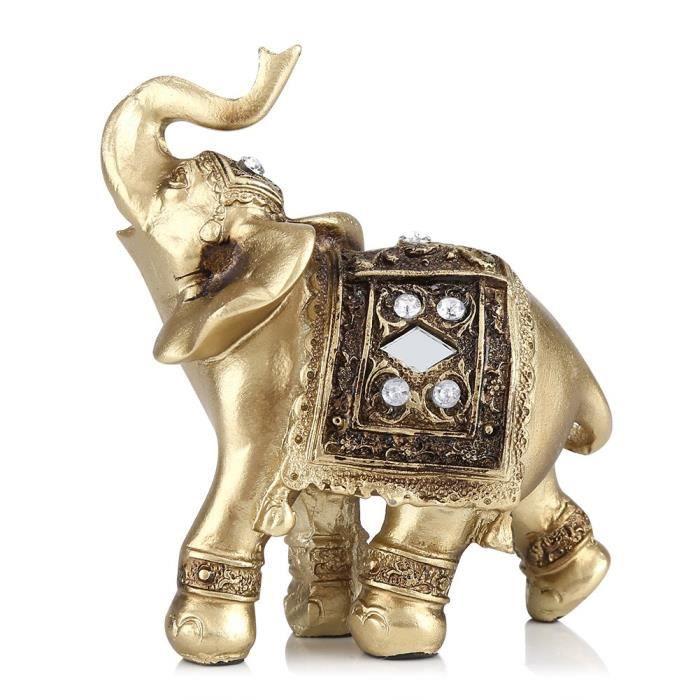 Garosa ornement d'éléphant Or Couleur Élégant Éléphant Statue Ornement Figurine Décor De Bureau À Domicile Cadeau (S)