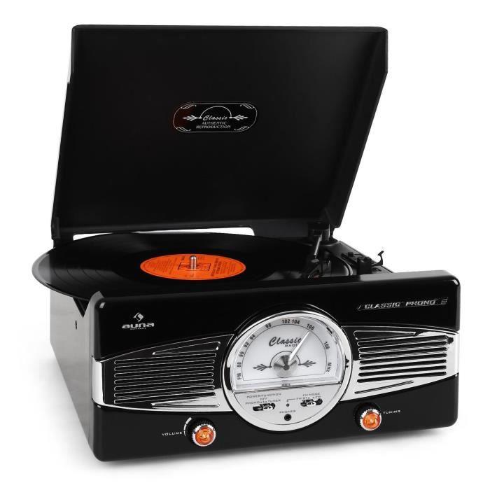 auna Platine vinyle - chaine stéréo avec tuner radio FM/AM et design rétro 50's Noir