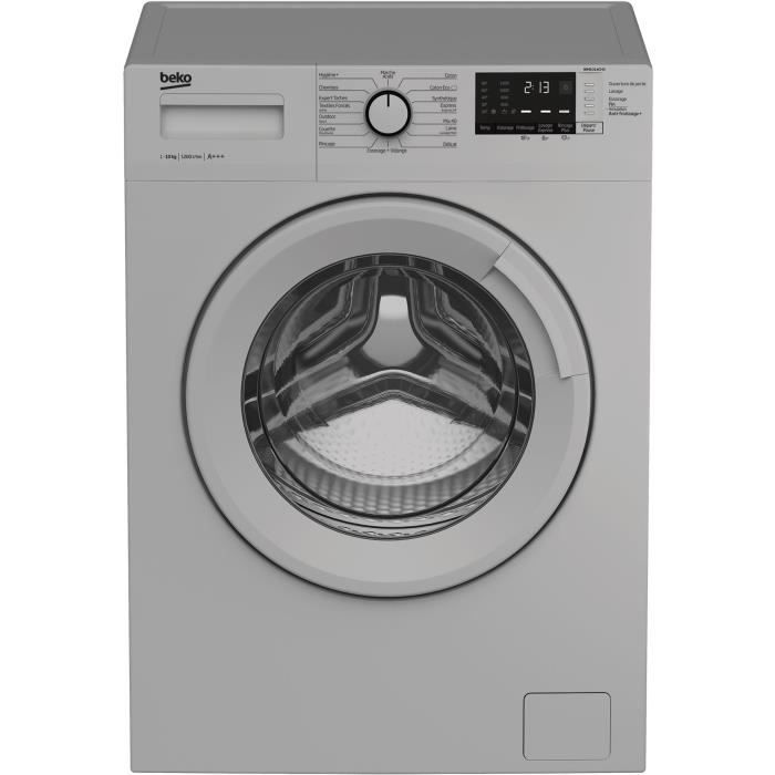 Lave-linge hublot BEKO WM1014CHS - 10 kg - Moteur induction - Classe A+++ - 1200 tours/min - Silver