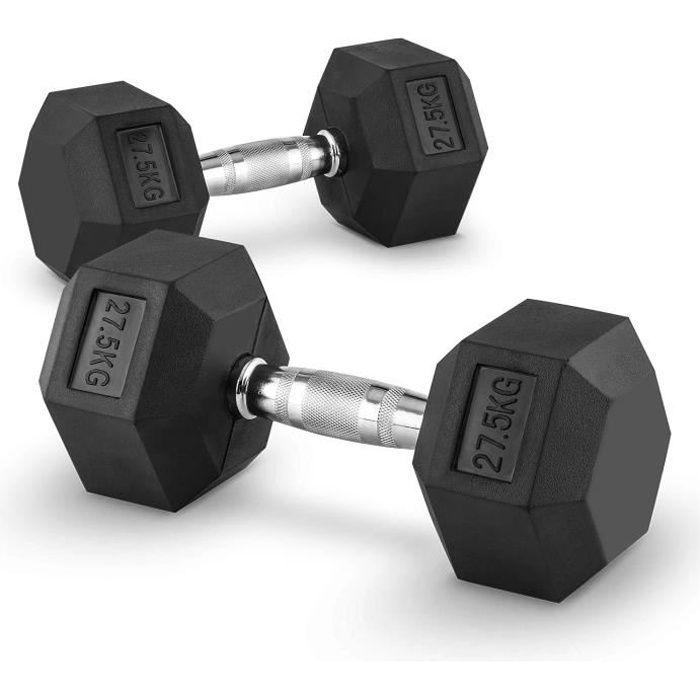 CAPITAL SPORTS Hexbell - Paire d'haltères courts pour musculation, cross-training… (caoutchouc résistant, prise chromée) - 2x 27,5kg