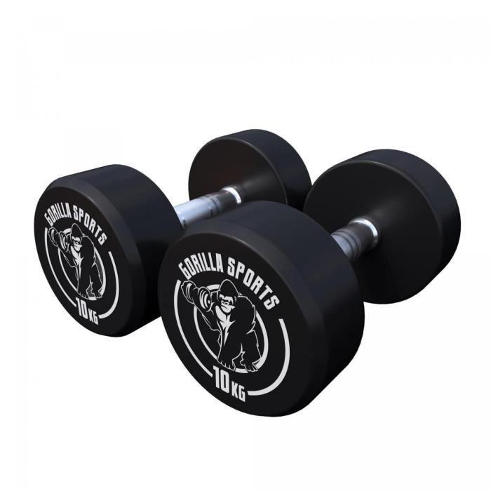 Gorilla Sports - 2,5 kg à 40 kg Dumbbell haltère poids - 20kg (2x10kg) Noir