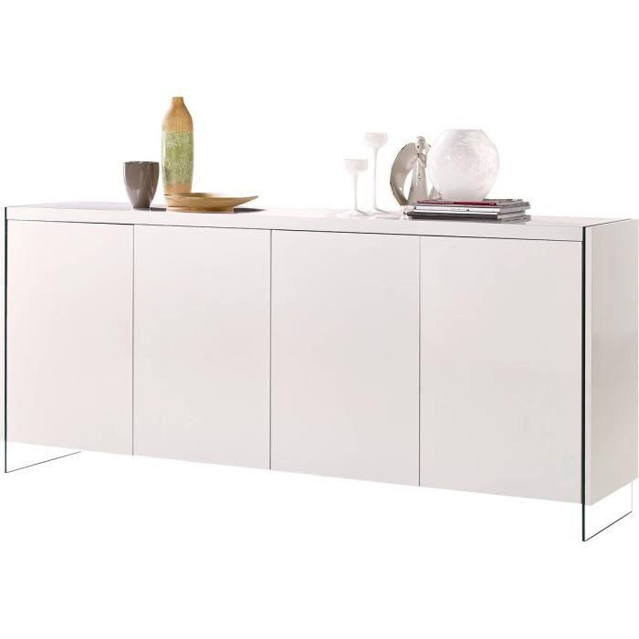 Buffet LED -Fiona- - 201 x 40 x 86 cm - Blanc laqué