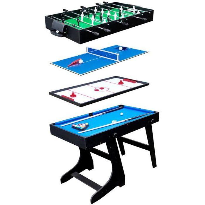 Table multi-jeux 4 en 1 Noir
