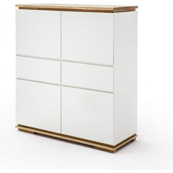 Buffet haut CHARLY 4 portes 2 tiroirs laqué blanc mat socle et plateau chêne massif blanc Bois Inside75