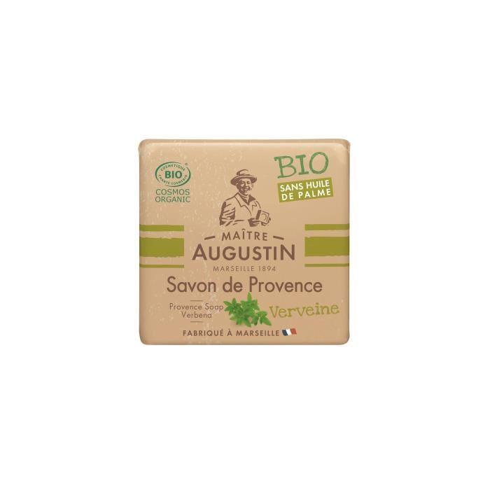 Le savon de Provence Bio Verveine MAITRE AUGUSTIN nettoie votre peau tout en douceur.