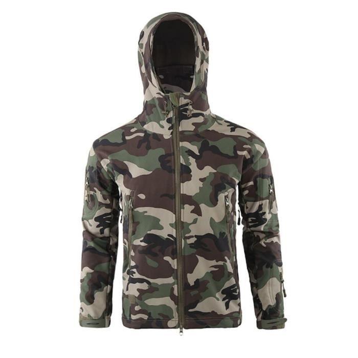 JTong Blouson Homme Militaire Armée Camouflage Pardessus Imperméable Polaire Chasse Tactique Softshell Veste d'extérieur Randonnée