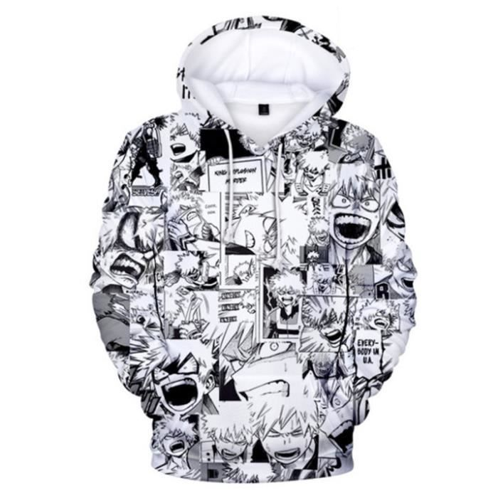 SWEAT-SHIRT Mixte - Sweatshirt à capuche imprimé mode My Hero Academia Adulte - blanc GM™