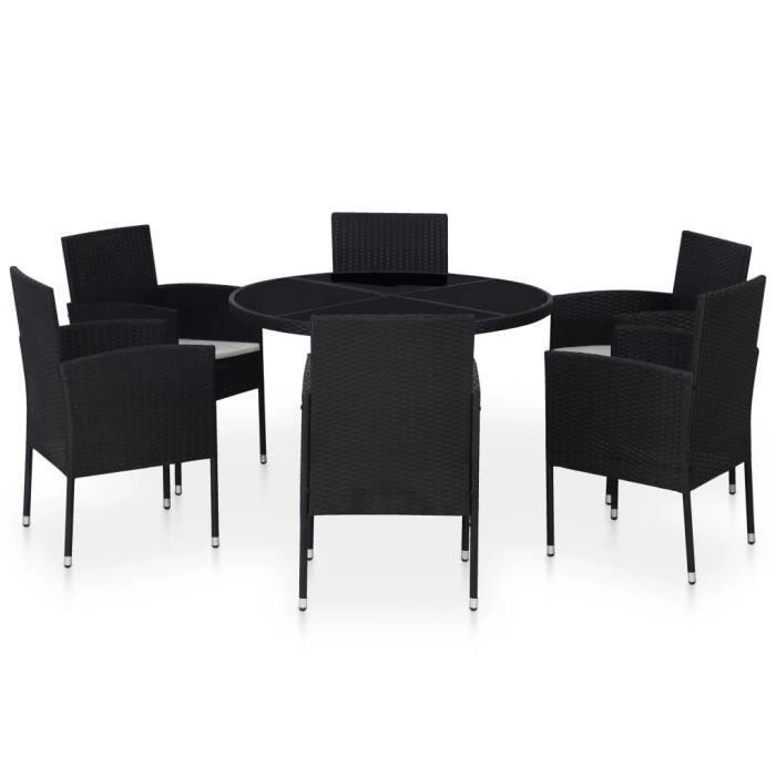 Luxueux Magnifique Moderne-Mobilier à dîner-Salon jardin 7 pcs avec coussins Résine tressée Noir