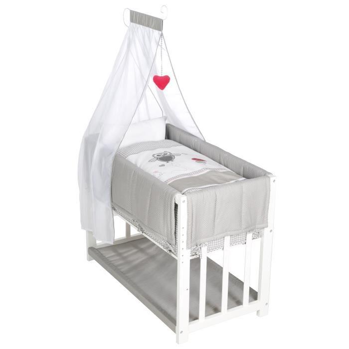 ROBA Berceau cododo -Adam et Eule- 4 en 1, lit bébé, berceau et banc enfant, blanc