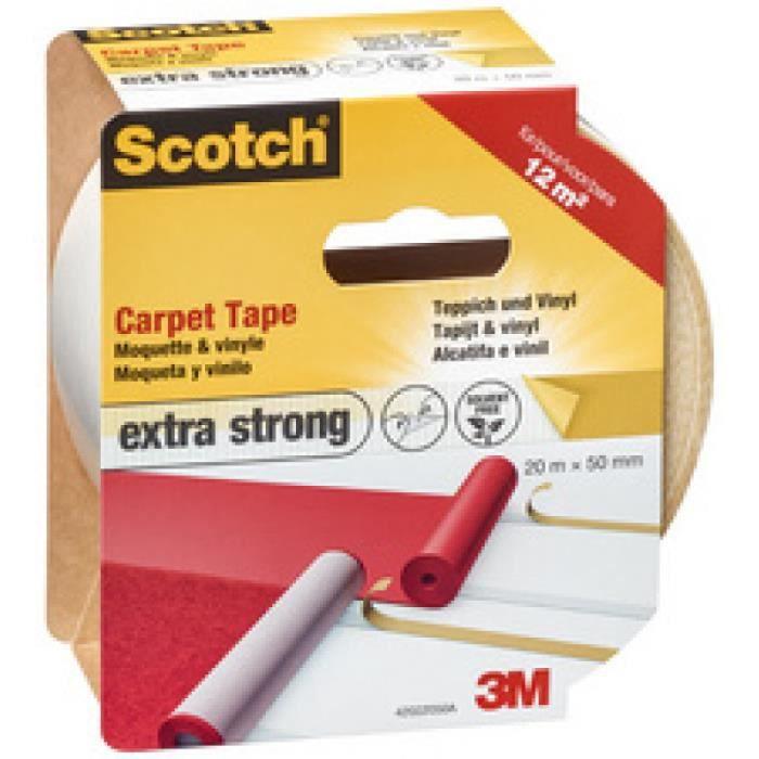 Scotch 3M Ruban Adhésif Double Face pour Moquette Extra-fort 50 mm x 20 m 1 Rouleau - 42022050