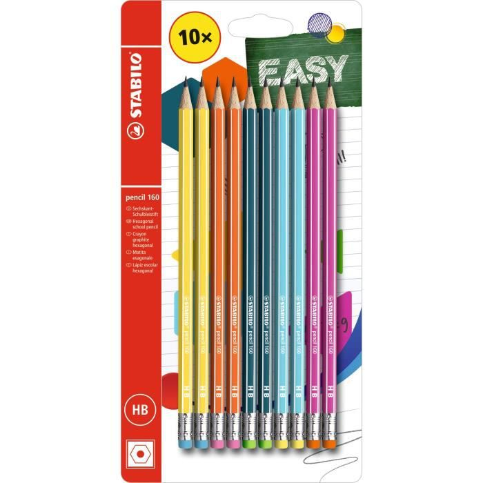 Blister x 10 crayons graphite STABILO pencil 160 bout gomme HB - 5 coloris assortis