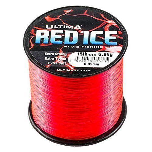 Ultima Red Ice Ligne de Pêche Extra Fort Haute visibilité - Bobine de 115gr pour Hommes, Rouge Fluo, 0.38mm-18.0lb/8.2kg - E5374