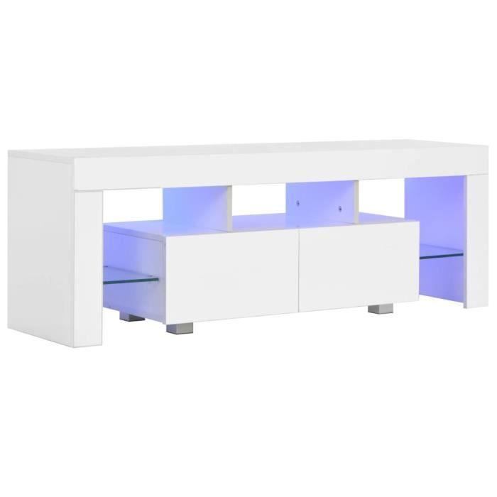 vidaXL Meuble TV avec lumière LED Blanc brillant 130 x 35 x 45 cm