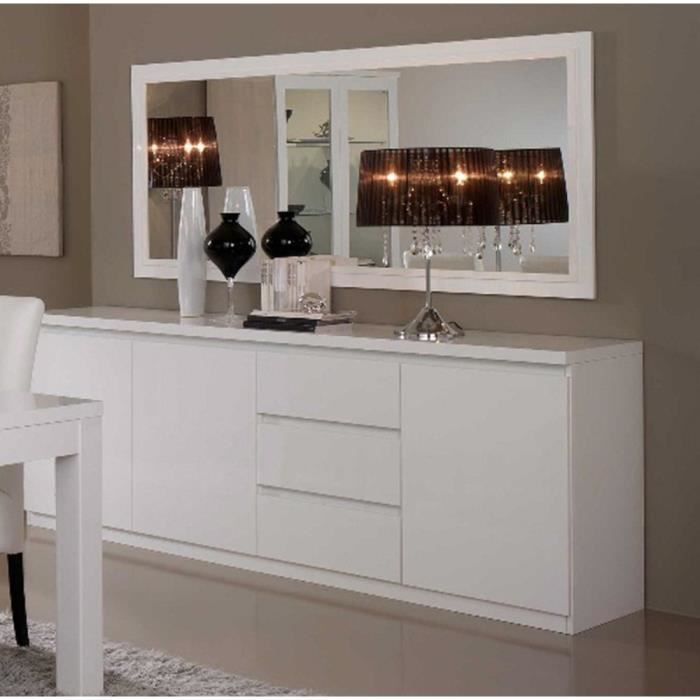 bahut roma laque blanc 3 portes 3 tiroirs achat vente. Black Bedroom Furniture Sets. Home Design Ideas