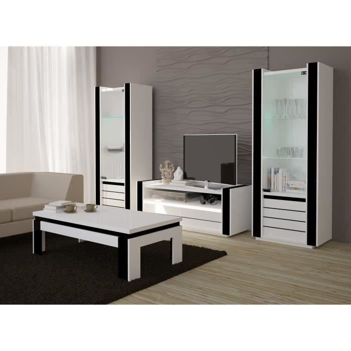 ensemble meuble de salon lina blanc et noir laqu achat vente meuble tv ensemble meuble de. Black Bedroom Furniture Sets. Home Design Ideas