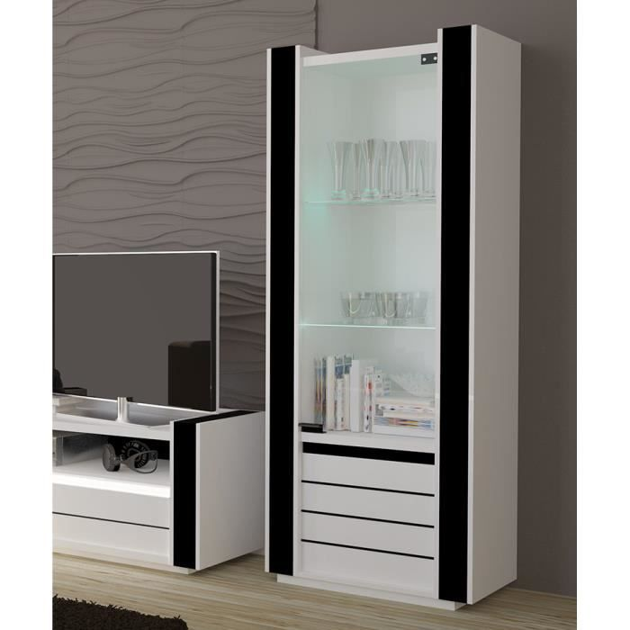 vitrine petit mod le lina blanc et noir avec led achat vente vitrine argentier vitrine. Black Bedroom Furniture Sets. Home Design Ideas