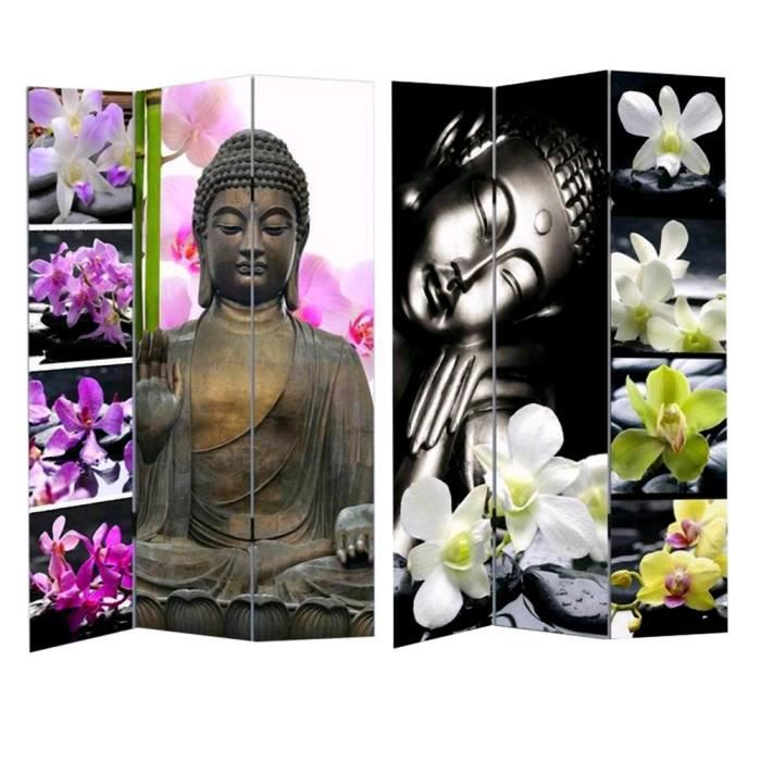 paravent bouddha toile zen feng shui achat vente paravent cdiscount. Black Bedroom Furniture Sets. Home Design Ideas