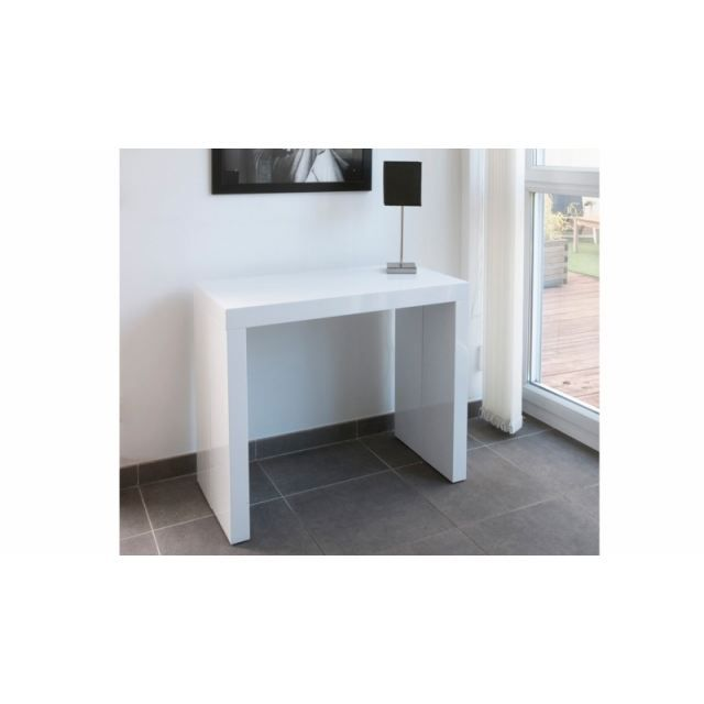 Table console extensible glory 3 allonges laque achat vente console exte - Console extensible blanc laque ...