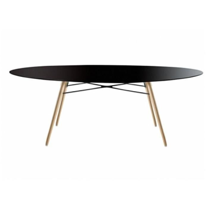 table de salle a manger ovale wox ellipse noir achat vente table basse table de salle a. Black Bedroom Furniture Sets. Home Design Ideas