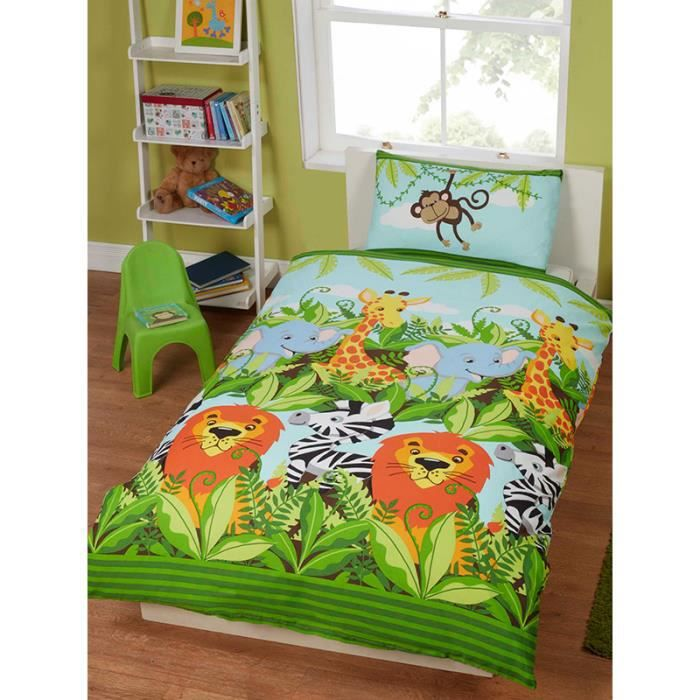 jungle friends parure de lit pour enfant housse de couette et taie d 39 oreiller lion l phant. Black Bedroom Furniture Sets. Home Design Ideas