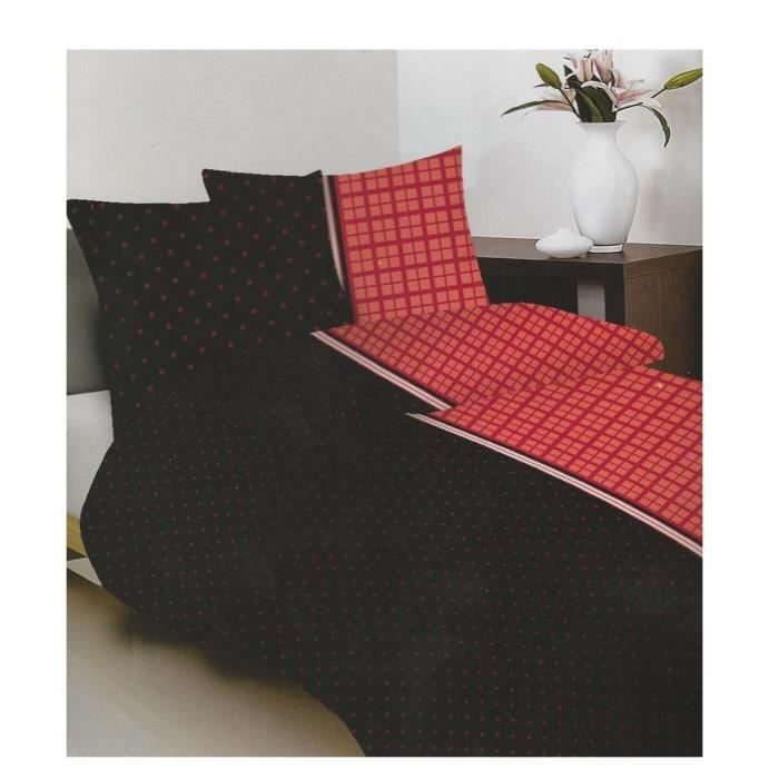 parure de lit rouge et noir achat vente parure de lit. Black Bedroom Furniture Sets. Home Design Ideas