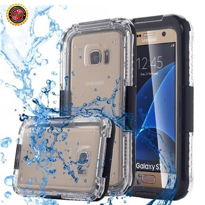 woocon coque samsung galaxy s7 edge tui waterproof tanche tui incassable noir achat housse. Black Bedroom Furniture Sets. Home Design Ideas