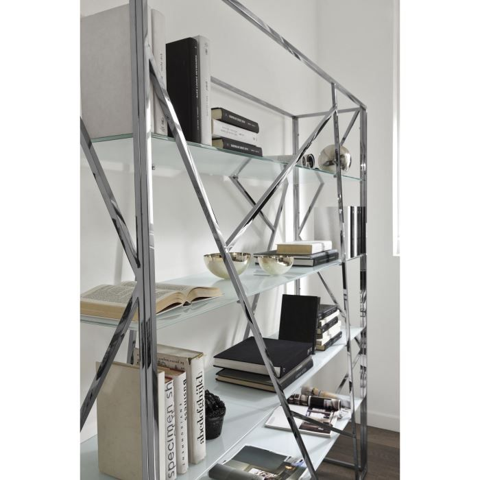 Bibliotheque design crossing en metal chrome achat vente biblioth que - Bibliotheque en metal ...