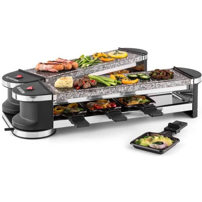 klarstein tenderloin raclette grill d pliable pour 8 personnes avec 2 plaques de cuisson en. Black Bedroom Furniture Sets. Home Design Ideas