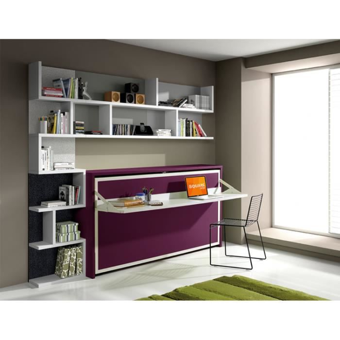 armoire lit escamotable fleet avec bureau 90x190cm achat vente lit escamotable cdiscount. Black Bedroom Furniture Sets. Home Design Ideas
